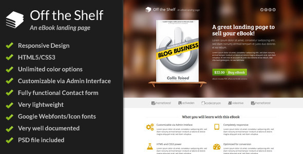 ThemeForest Off the Shelf Responsive E-Book Landing Page 4485934