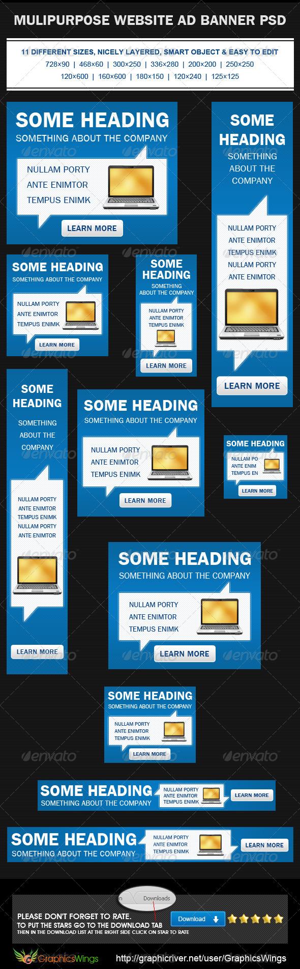 GraphicRiver Multipurpose Web Banner Ad PSD Template 4485936