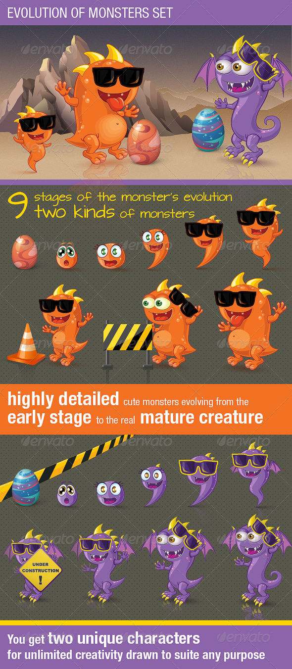 GraphicRiver Evolution of Monsters Set 4437275
