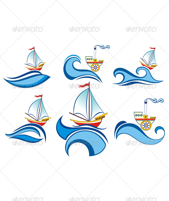 GraphicRiver Boat and Waves Design 4486482