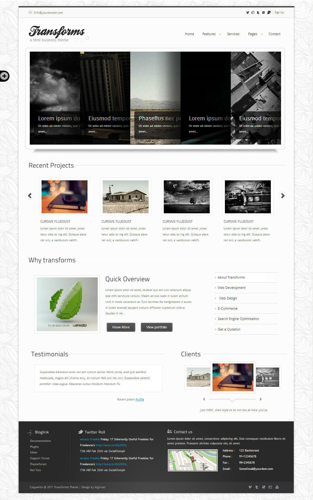 Transforms html template