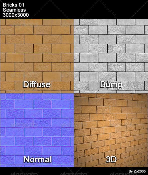 Bricks 01 Tileable - 3DOcean Item for Sale