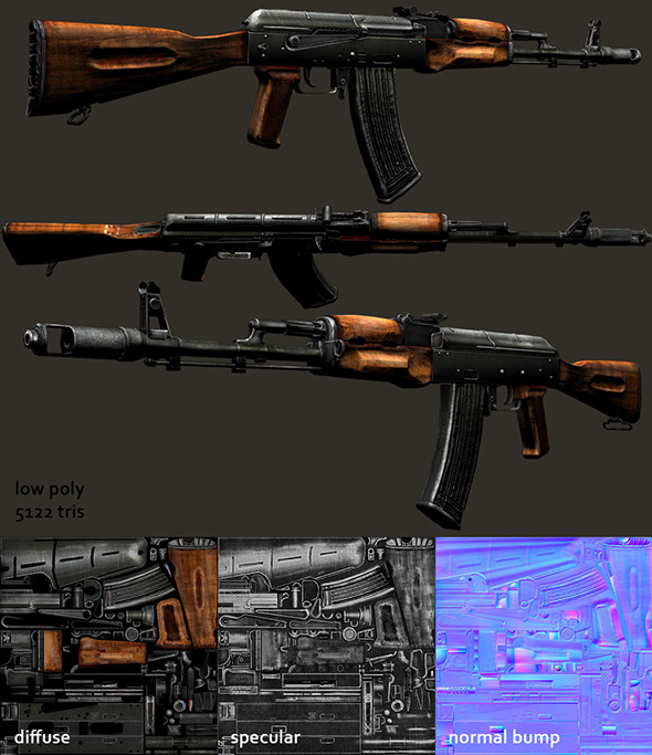 3DOcean AK-74 Assault Rifle Model 4486859