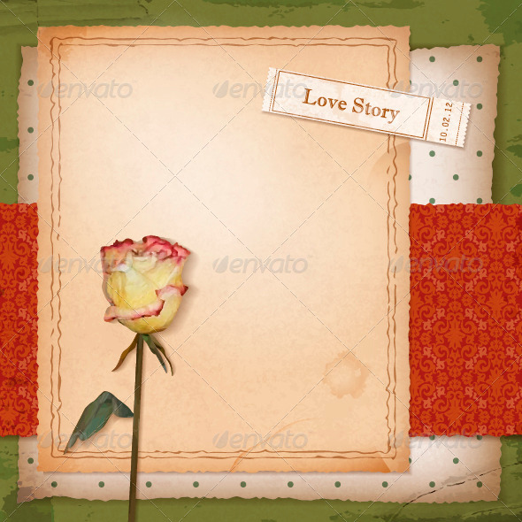 GraphicRiver Scrapbook Old Paper Background with Dried Rose 4487369