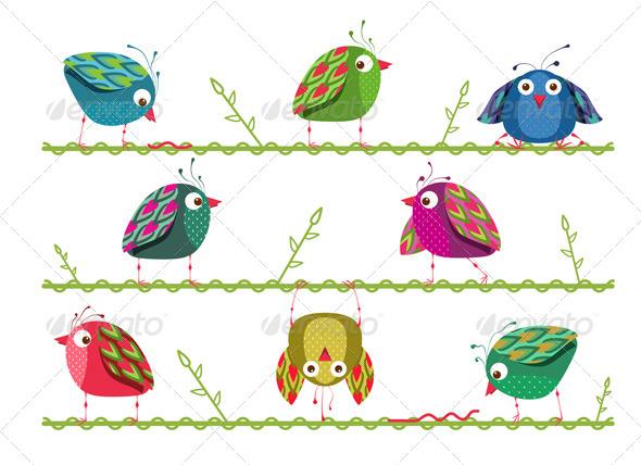 GraphicRiver Bright Graphic Cartoon Birds Composition 4487370
