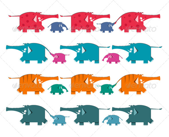 GraphicRiver Funny Graphic Elephants Herd Collection 4487434