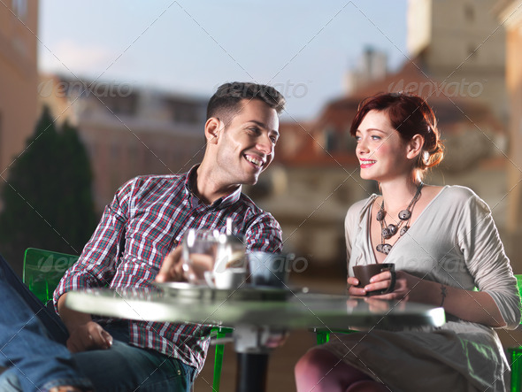 beautiful couple at coffee - Stock Photo - Images