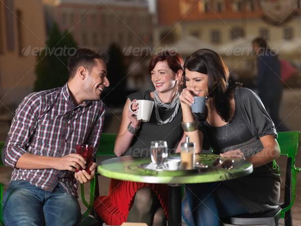 friends for tea on the terrace - Stock Photo - Images