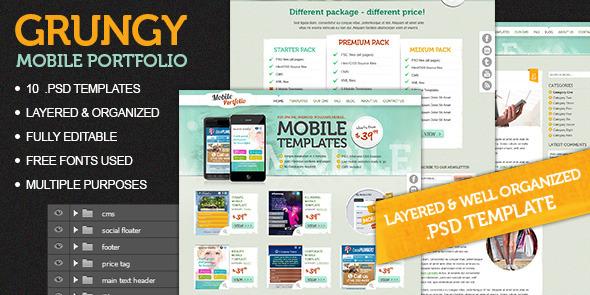 Grungy Mobile Portfolio PSD Theme