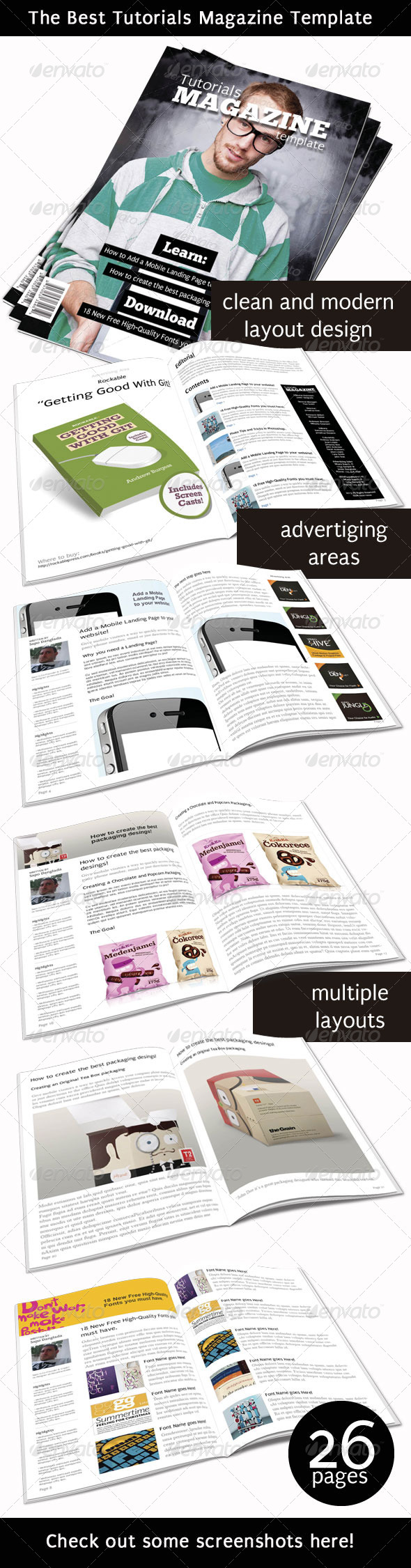 GraphicRiver Tutorials Magazine Indesign Template 3999157