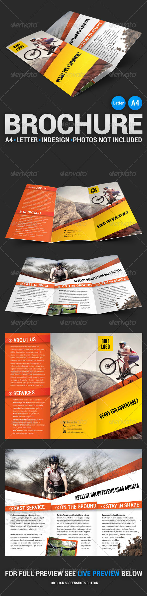 GraphicRiver Bike Tri-fold Brochure 4488290