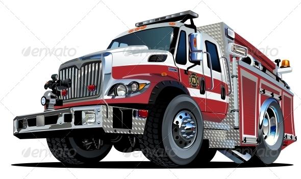 GraphicRiver Vector Cartoon Fire Truck 4488307