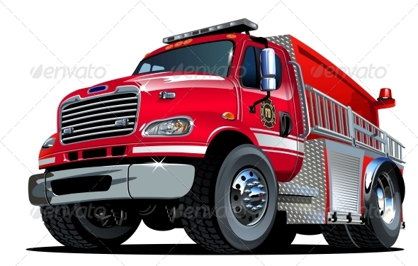 GraphicRiver Vector Cartoon Fire Truck 4488308