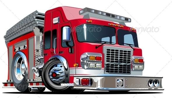 GraphicRiver Vector Cartoon Fire Truck 4488312