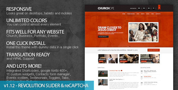 ChurcHope - Responsive WordPress Theme - Churches Nonprofit
