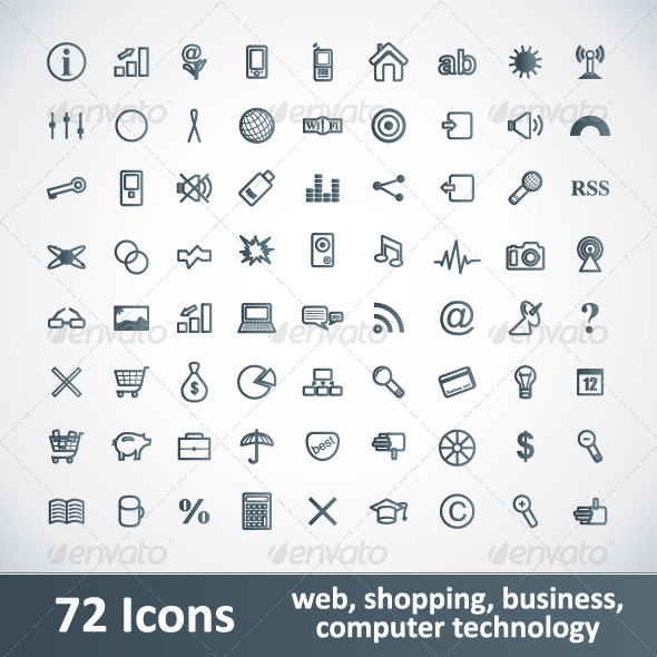 GraphicRiver Large Icons Set 72 Items 4489197