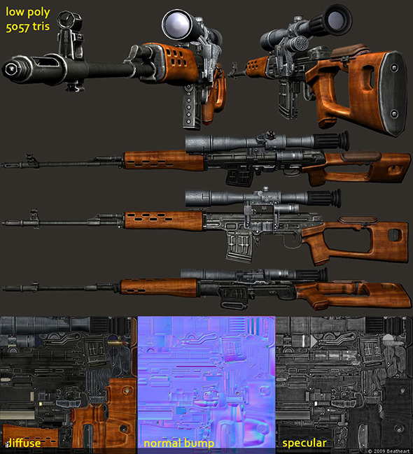 3DOcean SVD Dragunov Sniper Rifle Model 4489660