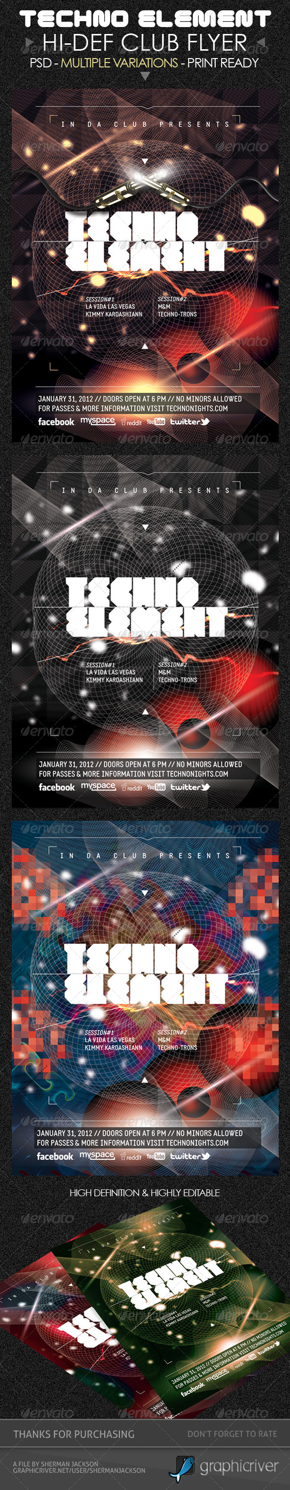 GraphicRiver Techno Elements Party & Concert Flyer 4489710