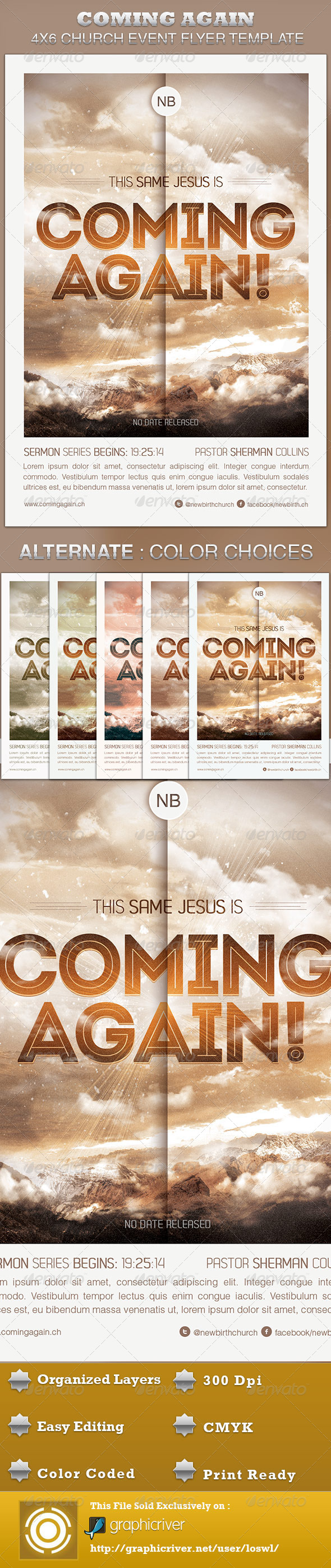 GraphicRiver Coming Again Church Flyer Template 4490743