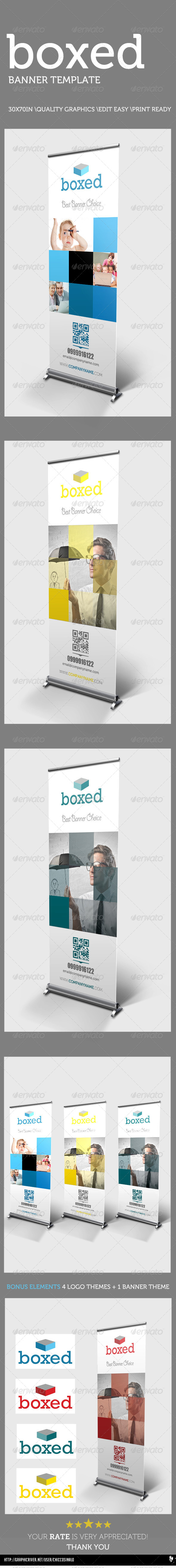 Boxed Banner Template - Signage Print Templates
