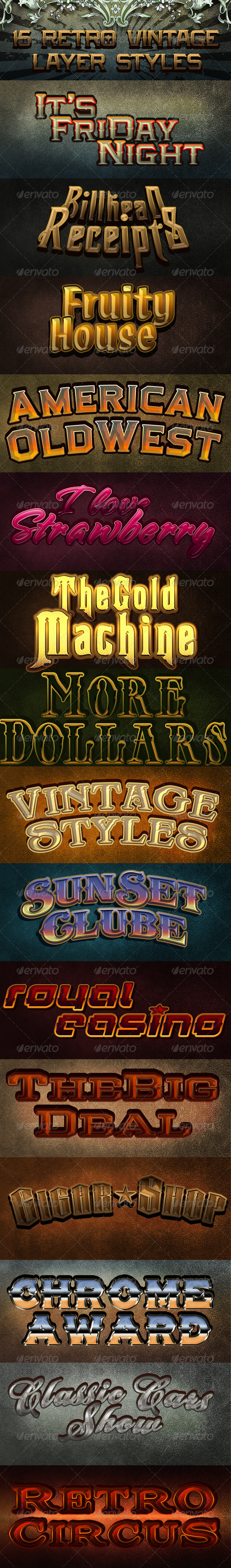 Retro Vintage layer Styles - Text Effects Actions
