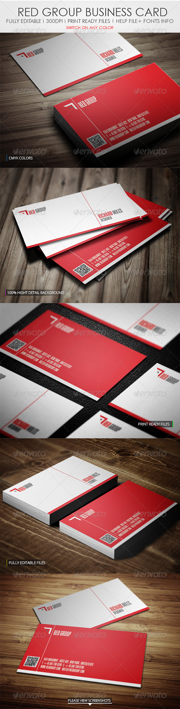 Red Group Business Card - Corporate Business Cards