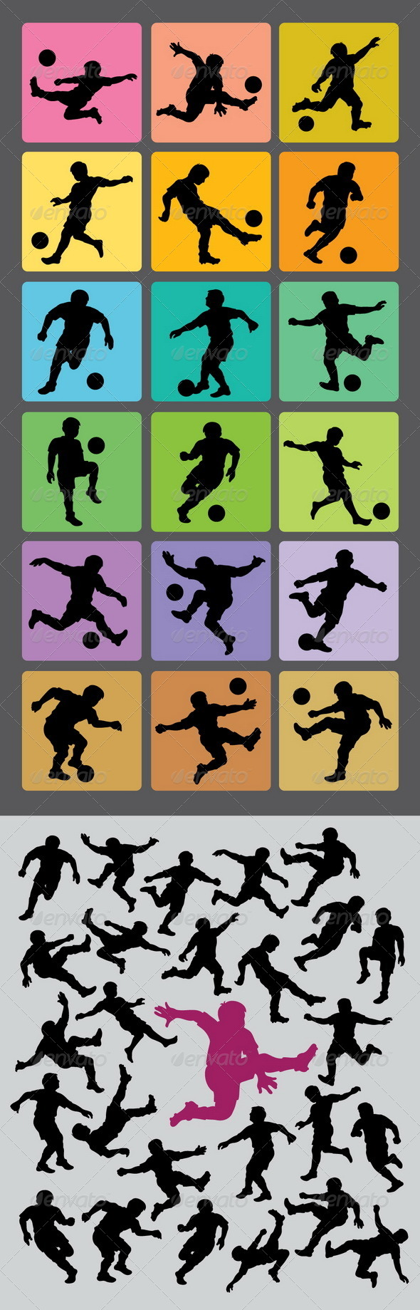 GraphicRiver Soccer Boy Silhouettes 4491471