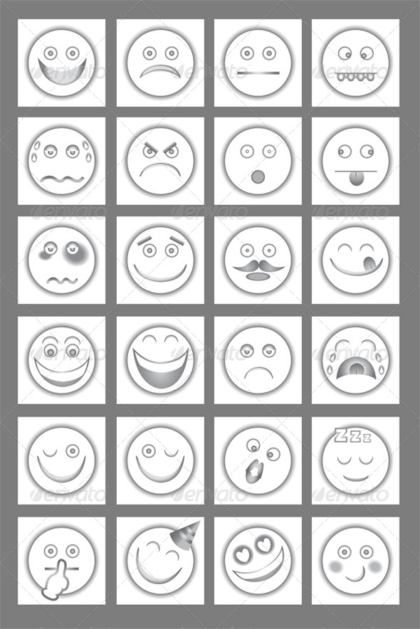 GraphicRiver Clean Emoticon Icons Set 4491710