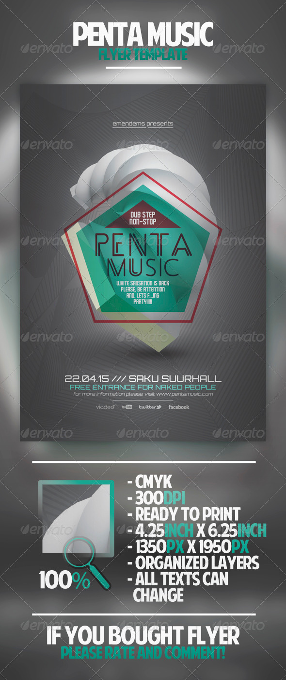 GraphicRiver Penta Music Flyer Template 4491936