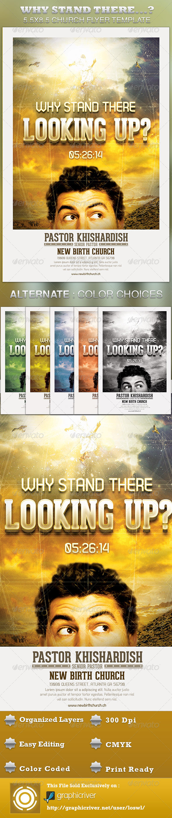 GraphicRiver Why Stand There Looking Up Church Flyer Template 4491973