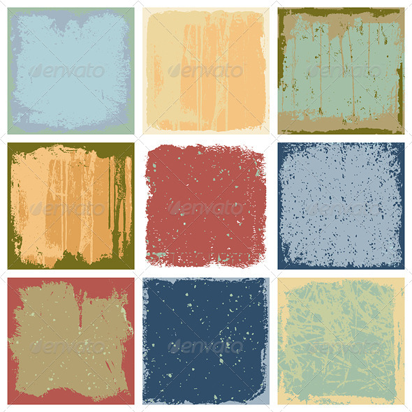 GraphicRiver Grunge Square Backgrounds Vector 4491977