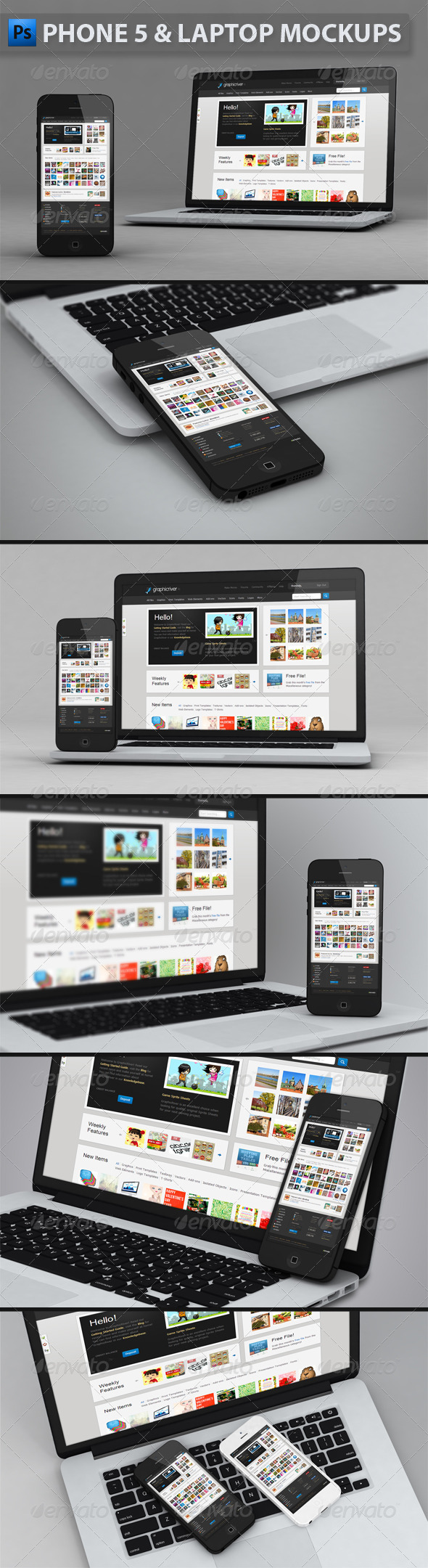 GraphicRiver Phone and Laptop Mockups 4493054
