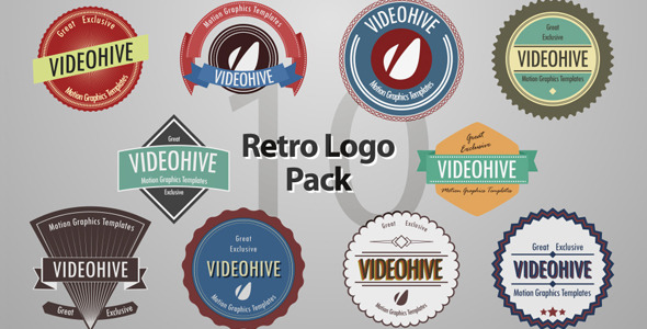 Videohive 10 retro logos pack 4442986 after effects project logo