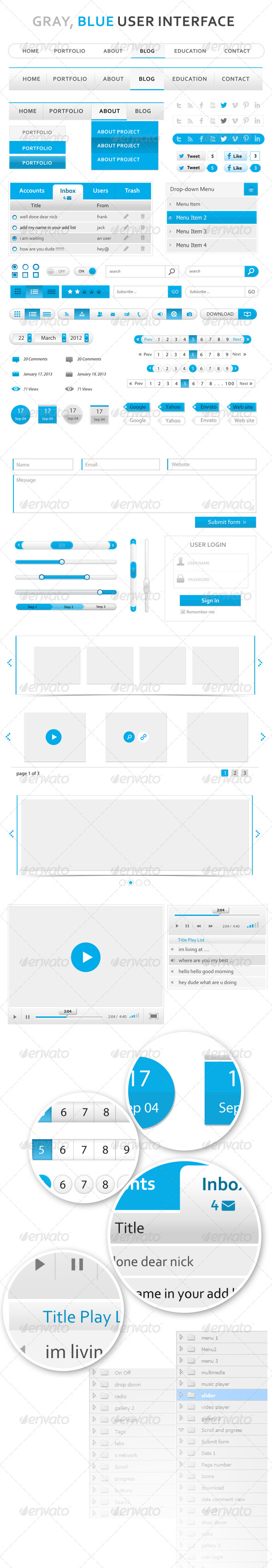 GraphicRiver Gray Blue User Interface 4494948