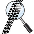 Magnifying glass icon, trail tires. Vector illustration. - PhotoDune Item for Sale