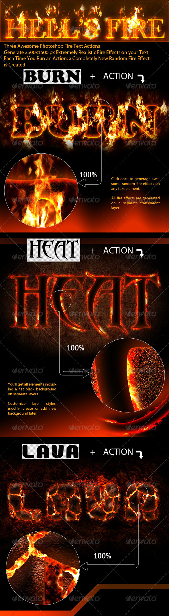 Photoshop Fire Text Actions - Text Effects Actions
