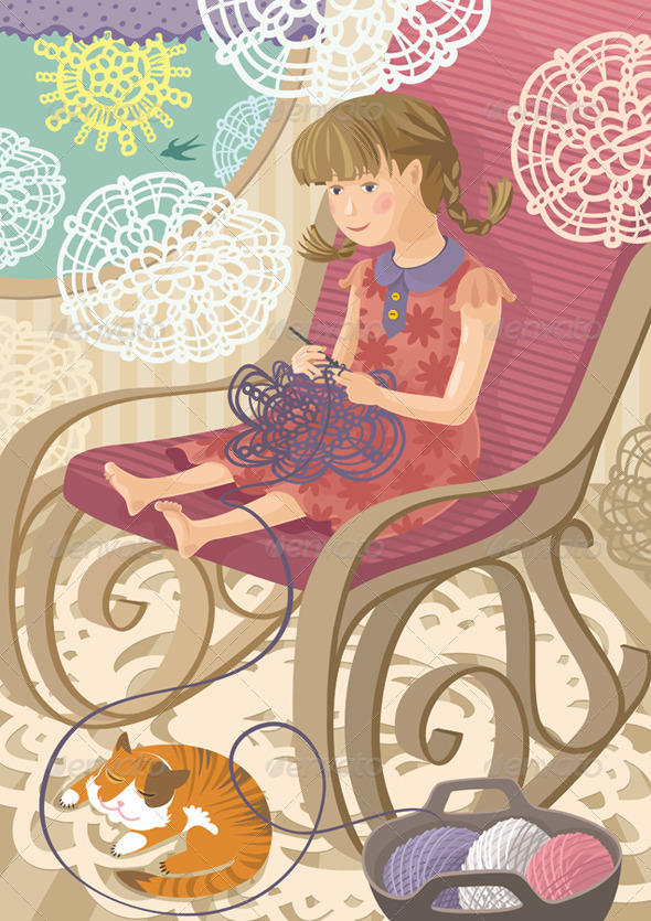 GraphicRiver Girl Crocheting 4496019