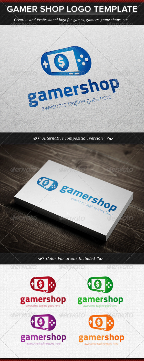 GraphicRiver Gamer Shop Logo Template 4496295