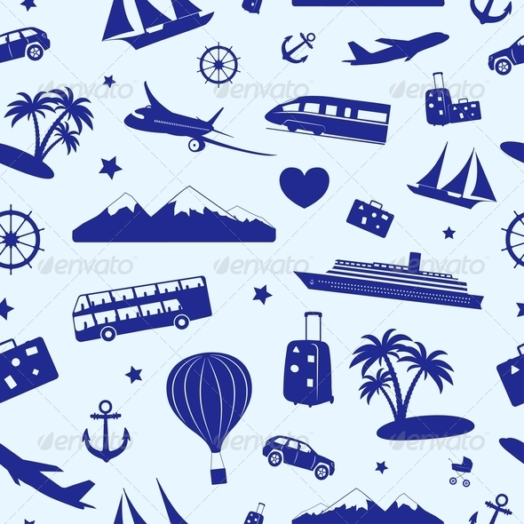 GraphicRiver Seamless Monochrome Pattern on Travel 4496790