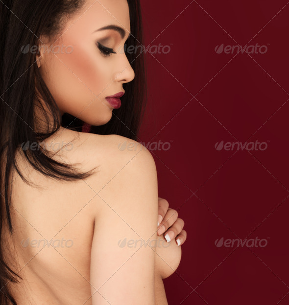 Sexy topless young woman - Stock Photo - Images