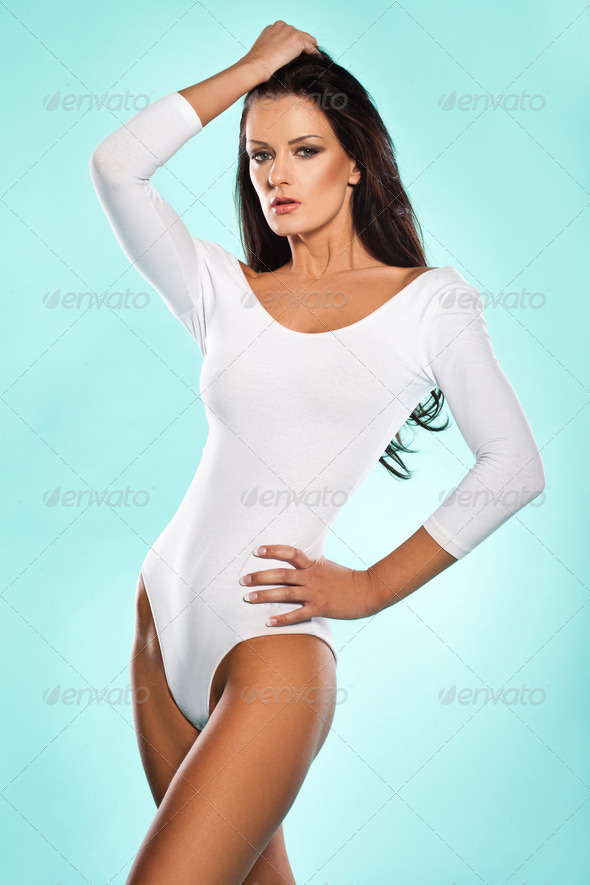 Beautiful sexy woman in a leotard - Stock Photo - Images