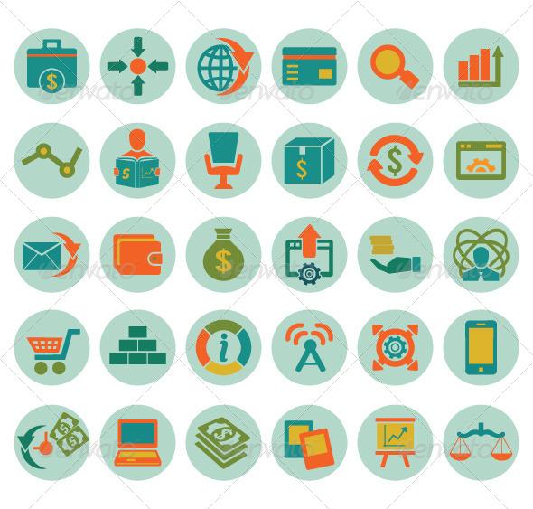 GraphicRiver Set of social media marketing icons 4497557