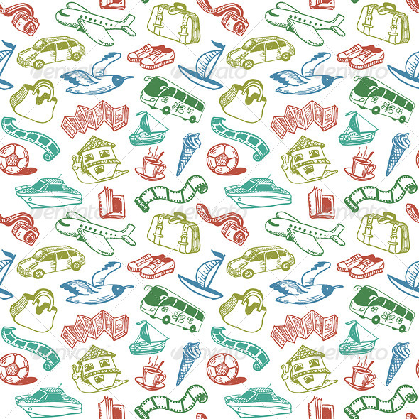 GraphicRiver Travel and Rest Seamless Pattern Vector 4498097