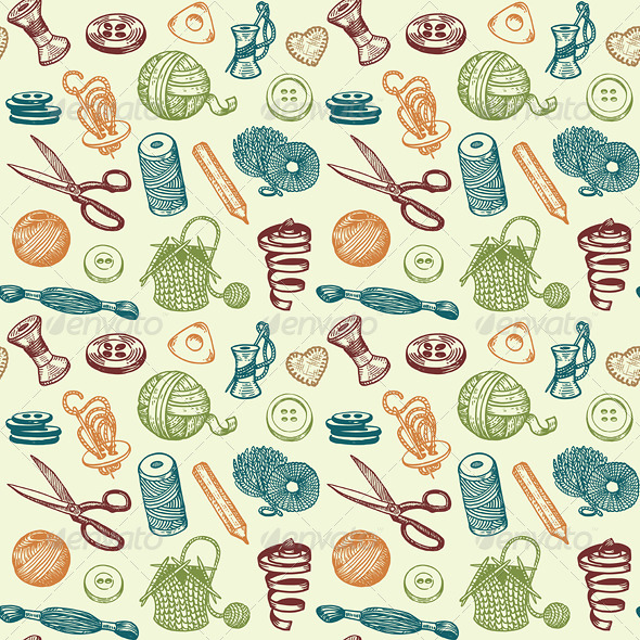 GraphicRiver Sewing and Needlework Seamless Pattern Vector 4498193