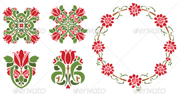 GraphicRiver Stenciled Roses 4498816