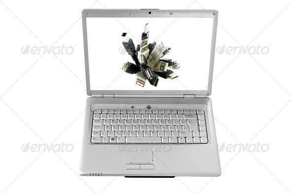 Isolated Laptop Screen and a bunch of USB cables - Stock Photo - Images