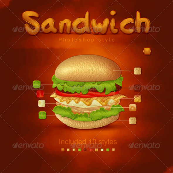 Sandwich Styles, For Photoshop - Text Effects Styles