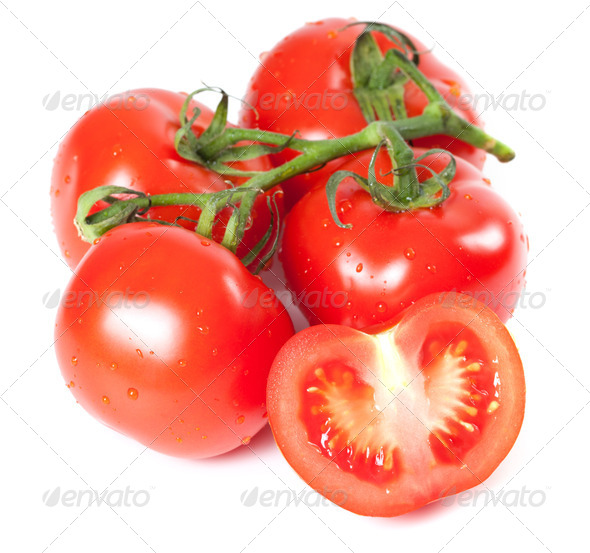 Bunch of fresh tomatoes with water drops - Stock Photo - Images