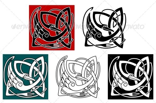 GraphicRiver Stork Bird in Celtic Ornament 4499817