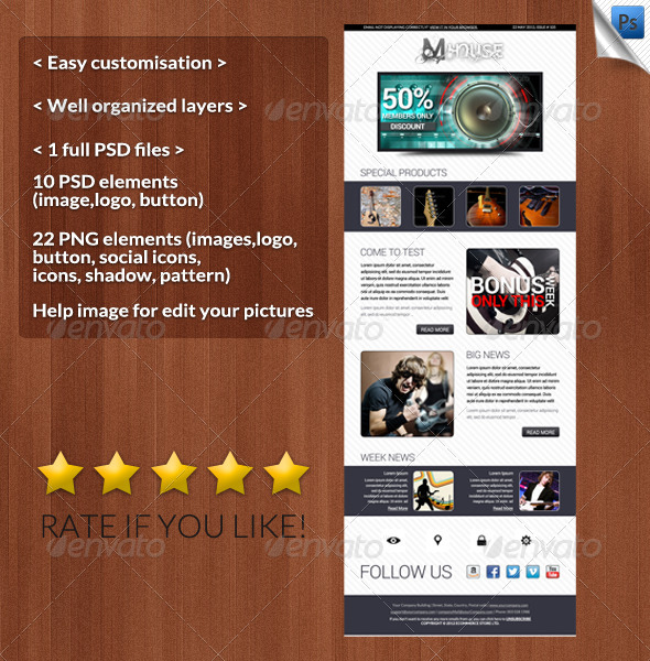 GraphicRiver Mhouse E-newsleters Template 4499833